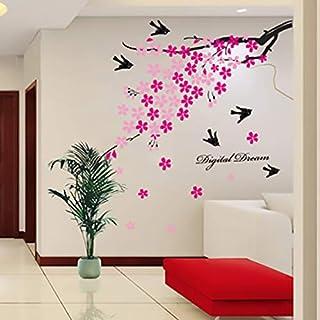 ملصقات حائط على شكل زهرة الخوخ الوردية وطائر البنوع