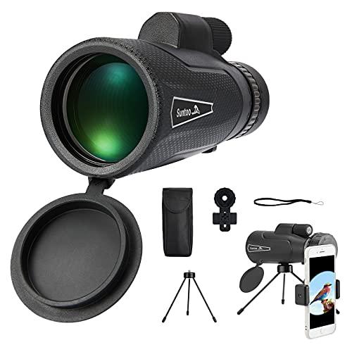 Suntoo Monocular Starscope Telescopio 10X50 HD con soporte para teléfono móvil y trípode, binoculares impermeables observación de aves, senderismo, camping, caza, conciertos, juegos pelota.