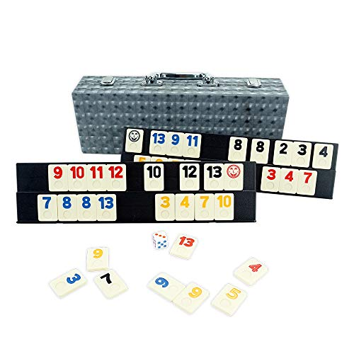LEQU Play 106 Rummy Tile GameColored Rummy Game with 4 Durable Trays and Leather Box for Kids and Family