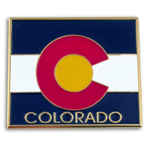 PinMart State Shape of Colorado and Colorado Flag Lapel Pin 1-1/8