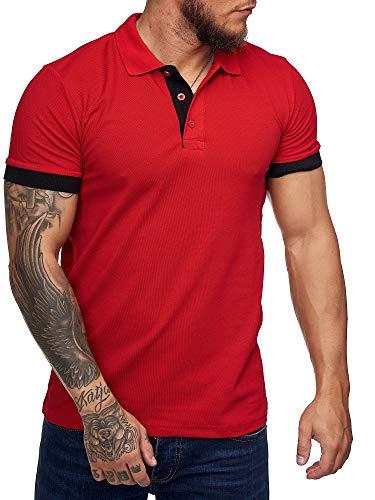 OneRedox Herren Poloshirt Polohemd Basic Kurzarm Einfarbig Slim Fit Polo Shirt Baumwolle T-Shirt Polokragen M-XXXL Modell 1402 Rot M