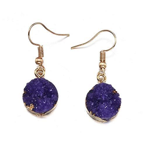 Arete Pendientes Redondos para Mujer Pendientes de Resina de Colores Bohemia Ear Dangly Jewelry Imitación de Piedra Boho Pendientes ED235