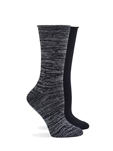HUE Super Soft Roll Top Boot Sock 2 Pair Pack, Black, One Size