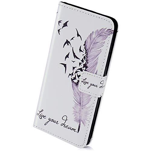 Herbests Compatible per Samsung Galaxy Note 9 Custodia Protettiva Portafoglio Pelle Cover Chiusura Magnetica Flip Case Colorate Wallet Case Custodia con Supporto di Stand,Piuma
