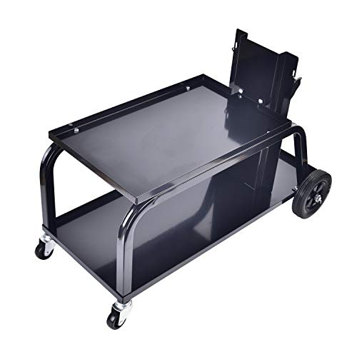 Aain Universal MIG Welding Cart, Rolling Welding Cart with Wheels for TIG MIG Welder, 110Lbs Capacity, Black
