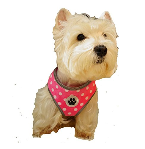 Lanyar Polka Dot Pink Reflective Padded Soft Dog Harness Safe Harness Winter Pet Harnesses for Small Dogs,Medium Size