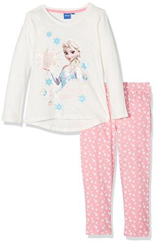 Disney Frozen Niña de set de cristal copos de nieve pijama de Frozen Marfil blanco crema 5-6 Años