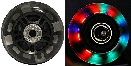 LED Inline Wheels 64mm 82a Skate Roller blade Ripstik Light Up 4-Pack w/ Bearings