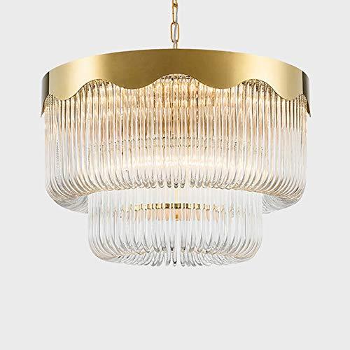 Luce Plafoniera Lámpara de araña de 60 cm Poste Moderno Cristal de lujo de doble capa Sala de estar de un piso Comedor Dormitorio Americano Creativo Iluminación simple del hotel