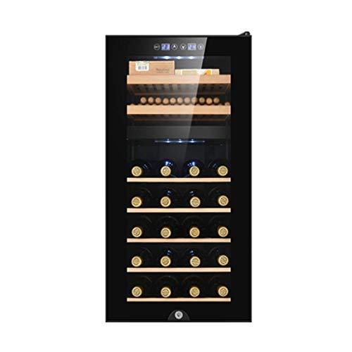 Humidors 78L Sigarenkist Dubbele Glazen Deur Sigarenkast-100 Sigaren Thermostaat Grenen Houten Wijnkast-Winkel 20 Flessen Rode Wijn (Kleur: Zwart, Maat: 40 * 81 * 50Cm)