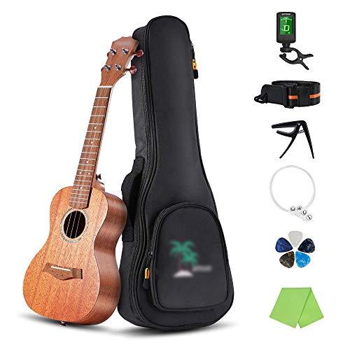 Ukulele Akustik-Sopran-Ukulele, Mahagoni-Sperrholz, Ukulele mit Gig (Größe: 21, Farbe: Holz)
