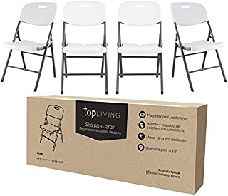 TOPLIVING Silla Plegable Kit De 4 Piezas Metal Tipo Lifetime