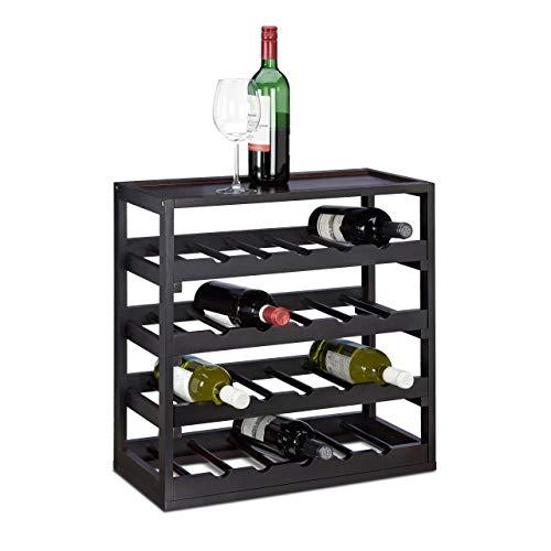 Relaxdays, Negro, 52 x 52 x 25 cm botellero Vino para...