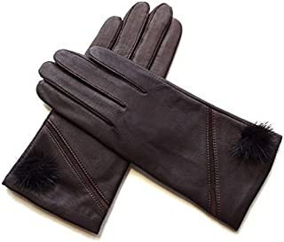 SHENTIANWEI Women's Leather Gloves Plus Velvet Cold Riding Warm Gloves (Color : Coffee, Size : One size)