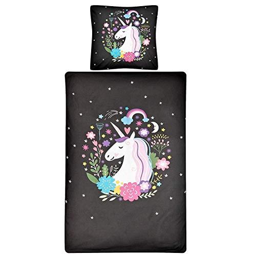 Aminata Kids Kinderbettwäsche 135 x 200 Einhorn-Motiv Mädchen Baumwolle Kinder-Bettwäsche-Set mit Reißverschluss schwarz anthrazit Regenbogen Pferd - Einhornbettwäsche bunt weich & kuschelig Unicorn