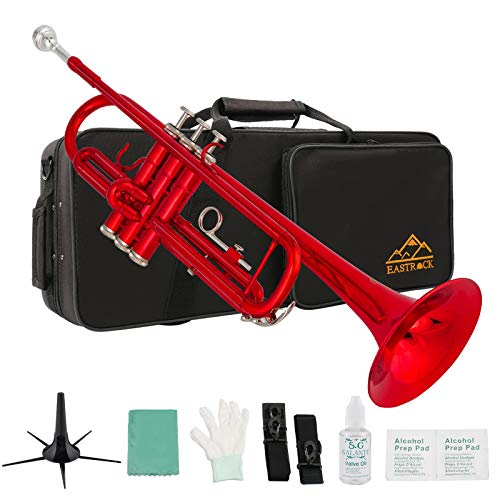 Eastrock Trumpet Standard Brass Bb Red Trumpet Instrument with Hard Case,Five Legs Trumpet Stand,Gloves, 7C Mouthpiece, Valve Oil and Trumpet Cleaning Kit for Student Beginner