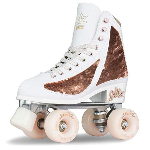 Crazy Skates Glitz Rollschuhe für Damen und Mädchen – schillernder Glitzer Sparkle Quad Skates – Roségold (Größe 2)