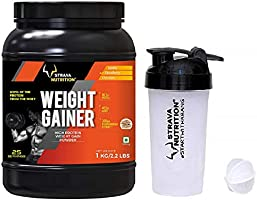 Strava Nutrition Weight Gainer with Shaker - 1 kg (Strawberry Flavour)