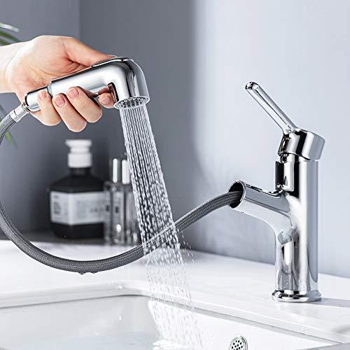 ONECE Waschtischarmatur ausziehbar Wasserhahn Bad mit 2 Strahlarten Brause Einhebelmischer Badarmatur Waschbecken Armatur, Chrom Einhand-Waschtischbatterie
