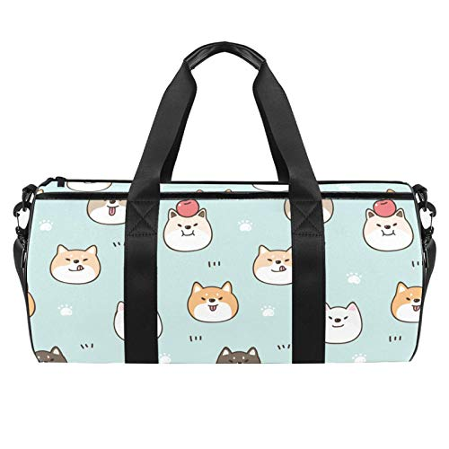 ASDFSD Sporttasche Sporttasche Turnbeutel Medium Reisetasche Fitness Sportgerät Gear Bag Cute Cartoon Hunde