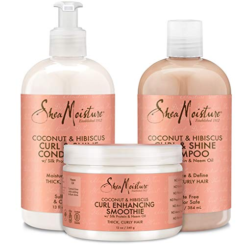 Shea Moisture Coconut & Hibiscus Curl TRIO: Includes Curl & Shine Shampoo, Curl & Shine CONDITIONER, Curl Enhancing Smoothie by Shea Moisture