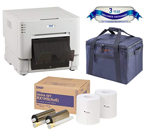 DNP DS-RX1HS Compact Event Photo Booth Portrait Printer Essential Bundle with DNP Print Media 4x6-inch, 2 Rolls + Slinger Padded Printer Carrying Case + DNP 3 Year Extended Warranty