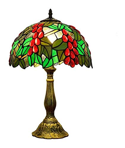 GDD Tiffany lámpara de Mesa Lámpara de Noche UVA roja del Estilo de Tiffany lámpara de Mesa Retro del vitral de la lámpara de Escritorio de luz de Noche Decorativo 30 * 49cm