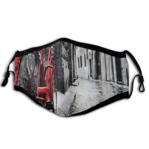 SURERUIM Face Cover Bicycle Classic Bike On Cobblestone Street In Italian Town Leisure Charm Artistic Photo Balaclava Reusable Anti-Dust Mouth Bandanas Running Neck Gaiter with 2 Filters for Men Women