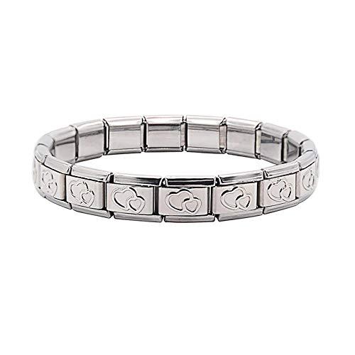 Double Heart Charms Bracelet - fit all classic 9mm Italian Style Charm Bracelet - UK stock