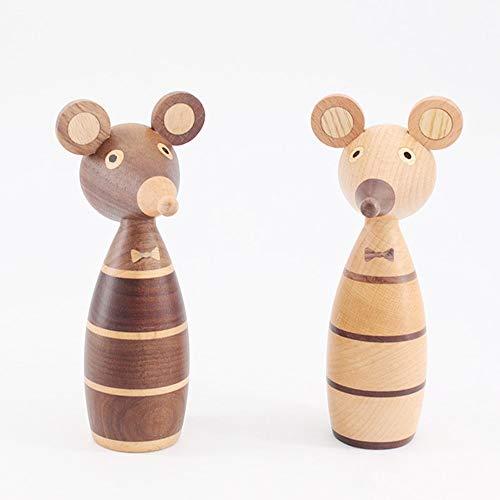 Tesysyet Brown Adornos de Madera Pareja Rata decoración casera Creativa Pórtico de Marionetas Cafe Hace el Regalo de la decoración 7 * 15.5 (cm)