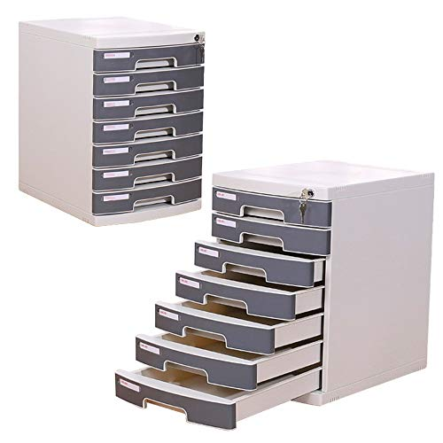 Madeinely Platzsparende Aktenschränke Büromaterial Schreibtisch-Organizer Kunststoff Datei Postsortierer mit 7 Schubladen for Office-Dokumente (Color : Gray, Size : 30.2x39.5x43.2cm)
