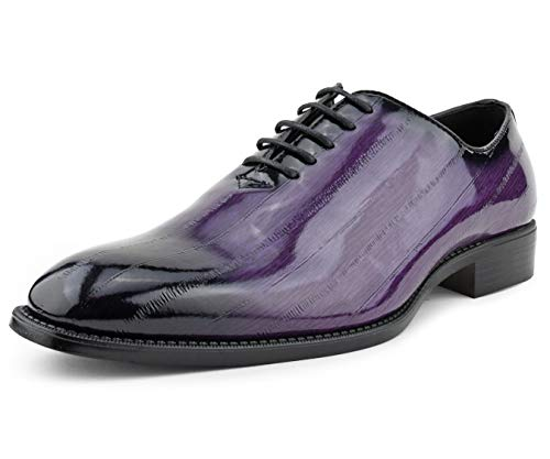 Bolano Brayden Men's Oxford Dress Shoes - Exotic EEL Skin Formal Dress Shoes for Men with Black Burnished Toe - Designer Formal Shoes with Lace Tie (Purple/13)