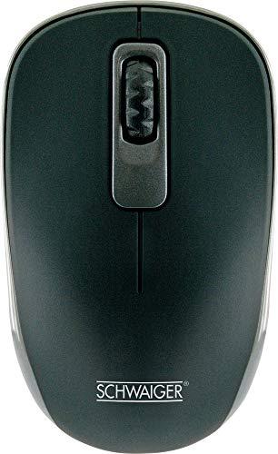 SCHWAIGER -OM1000- PC Funkmaus optisch Wireless kabellos 2,4 GHz USB Empfänger Business Office 1200 DPI 3 Tasten für Links- und Rechtshänder schwarz