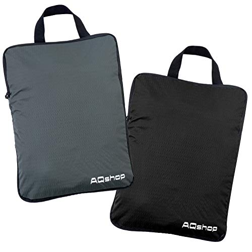AQshop 圧縮バッグ 旅行 ファスナー 圧縮袋 セット 衣類収納 スペース節約 撥水 超軽量 出張 旅行便利グッズ トラベルポーチ (M黒グレー2個セット)