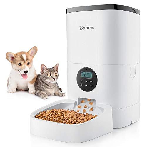 Balimo 6L Automatischer Futterspender für Katze und Hund, Futterautomat Katze & Hund mit Programmierbar Timer,LCD Bildschirm und Ton-Aufnahmefunktion Bis zu 4 Mahlzeiten pro Tag