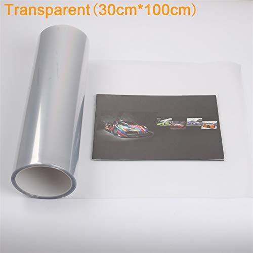 """NYSCJJJ Auto Styling 13 Farben 12""""x40 30cmx100cm Auto Auto Lichtscheinwerfer Taiselfenster Tönung Styling wasserdichte Vinylfilmaufkleber (Color : Transparent)"""