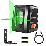 Lomvum Self-Leveling Laser Level 100FT Green Cross- Line Laser -visible in sunshine, DIY Line Laser with Free Batteries,Charging Cable, Bracket