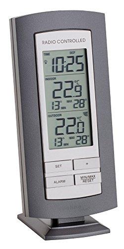 Technoline Wetterstation WS 9140-IT mit Funkuhr und Innen- und Außentemperaturanzeige (Anthrazit-Silber)