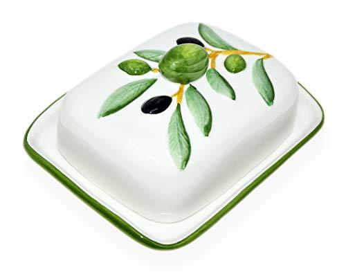 Lashuma Handgemachte Butterdose aus Italienischer Keramik im Olivendesign, Butterschale Größe 18 x 14 cm