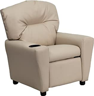 Flash Furniture Contemporary Beige Vinyl Kids Recliner with Cup Holder -, BT-7950-KID-BGE-GG