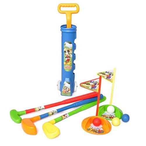 Set gioco golf trainabile Disney Mickey Mouse in plastica (sacca rigida, 3 mazze, 4 palline, 2 buche con bandierine)