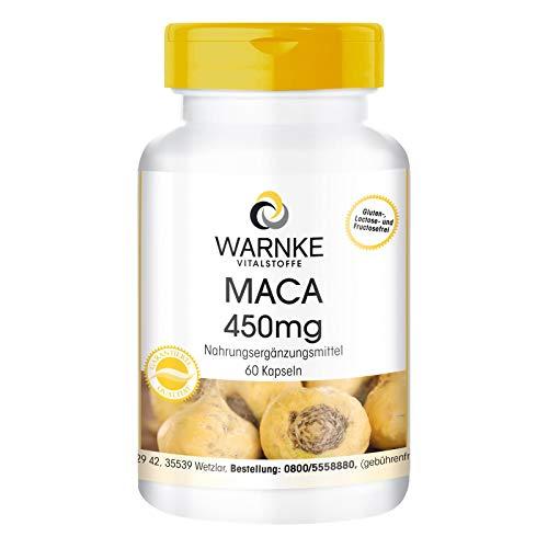 Maca 450mg - hochdosiert & vegan - gelbe Maca-Wurzel Extrakt - 60 Kapseln - Hergestellt in Deutschland