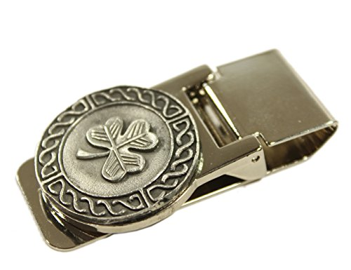 Celtic Money Clip Shamrock & Weave Stainless Steel & Pewter Made in Ireland