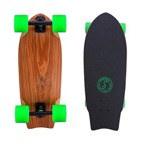 SKOCHO Mini-Short Longboards Cruiser-Complete Skateboards - Wide Skateboard Deck for Commut Tricks Freestyle(Rosewood)