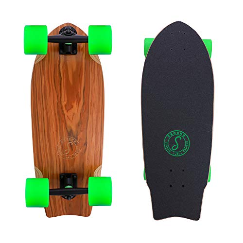 SKOCHO 26.5x9.5in Wide Freestyle Cruisering and Carving Skateboard | Canadian Maple Short Skateboard with 75x56mm Big Wheels …