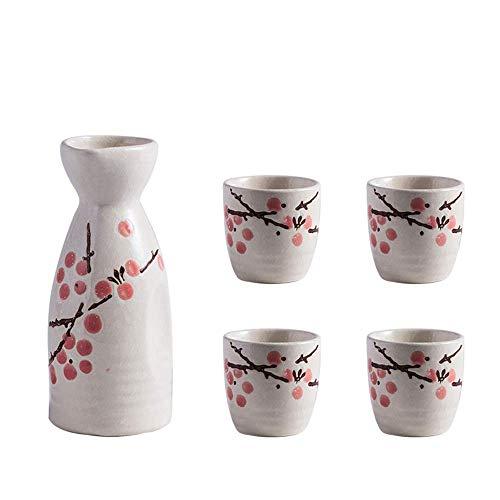AABBC 5 Pieces Sake Set, Wine Glasses Set, Quaint Plum blossom Underglaze Design, include 1 Pc Sake Pot, 4 Pc Sake Cups, for Cold/Warm/Hot Sake/Shochu/Tea