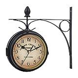GJCrafts Reloj de pared de doble cara, impermeable, estilo europeo, estilo antiguo, para decorar el salón o el dormitorio
