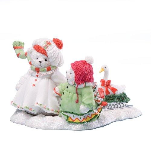 Enesco Cherished Teddies Collection Snowbears Pulling Sleigh Figurine