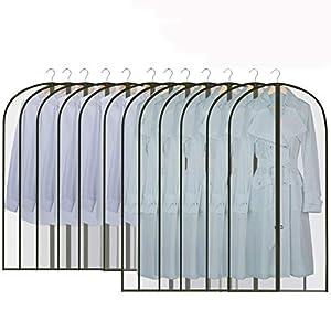 GoMaihe Fundas de Ropa 12 PCS, 60 x 120 / 100cm Bolsa de Traje Transparente Bolsas de Ropa, Vestido de Noche Vestido de Novia Abrigos Camisas Polilla Protección Repelente al Agua, Negro