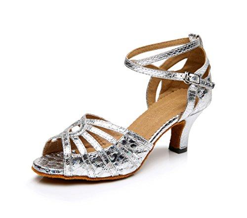 Honeystore Neuheiten Frauen's PU Leder Heels Absatzschuhe Moderne Latein-Schuhe mit Knöchelriemen Tanzschuhe LD0110 Silber 41 CN